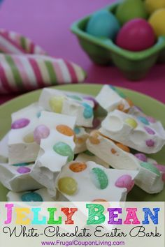 Two Ingredient Jelly Bean Easter Bark – Easter Recipe. I plan to wrap them with a bow and a bag and put them in the kids easter baskets.