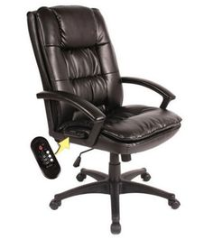 Black Leather Massage Executive Chair Rechargeable Battery Home Office Furniture