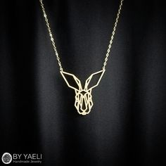 Geometric necklace gold necklace bunny necklace animal by ByYaeli