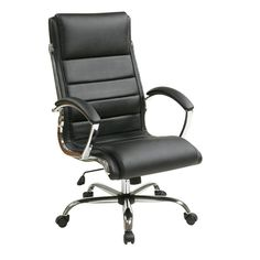 Bring chic executive style and essential comfort to your home office with this sleek desk chair, the perfect accent for livening up your space. Wrapped in white faux leather upholstery, this design is brimming with contemporary style. The sleek design and chromed base give this chair its alluring appeal, but it is more than just stylish. It also features a padded seat, cushioned headrest, contoured lumbar support, and smooth tilting mechanism for essential comfort. Pull this chair up to a…