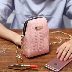 Buy lady fashion mini vertical pu storage shoulder bag phone wallet case across bag with metal chain for under inches smartphone women gift at Wish - Shopping Made Fun Smartphones For Sale, Mini Purse, Phone Wallet, Metal Chain, Leather Craft, Fashion Bags, Gifts For Women, Leather Wallet, Fashion Handbags