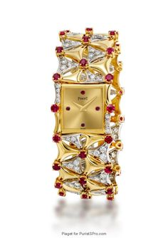 Jewelery watch in yellow and white gold with rubies and diamonds (caliber 4P).