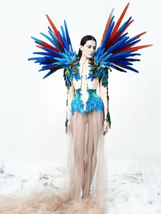 Amazing garment with feathers