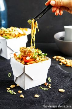 Wok-In-A-Box: Satay Pork Noodle Box | The Whimsical Wife