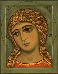 Orthodox Christian icon with 666 curls of hair on each shoulder. Byzantine Icons, Byzantine Art, Doreen Virtue, Religious Icons, Religious Art, Angels Among Us, Noli Me Tangere, Paint Icon, Archangel Gabriel