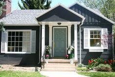 dark grey siding, white trim, blue door or red door