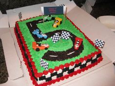 """An idea for the cake I want to make for Joseph's second birthday. Fashion it with a number two and instead of fondant card, use """"Cars"""" toys. Easy, cute, and delicious!"""