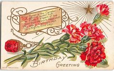 Embossed Postcard Birthday Greetings Red Ruby and Red Carnation~108121 #Birthday