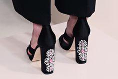 LSC | Style - Kate Spade New York Fall 2015 #NYFW- Black strap & stone chunky heel.  Luxuryshoeclub.com
