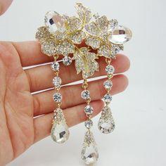 New Coming Elegant Rose Flower Drop Clear Rhinestone Crystal Brooch Pin Beautiful Bride Bridesmaid Wedding Jewelry Brooch