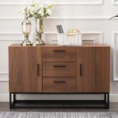 CANMOV Modern Sideboard Storage Cabinet,Buffet Table Kitchen Storage with Three Storage Drawers Two Cabinets,Brown Sideboard Table, Modern Sideboard, Buffet Tables, Console Table, Modern Buffet Table, Kitchen Sideboard, Console Cabinet, Media Cabinet, Countertop Materials