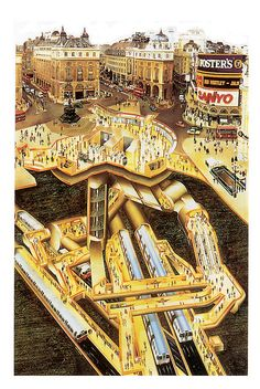 Piccadilly Circus cutaway view. I love this underground view of the Underground.