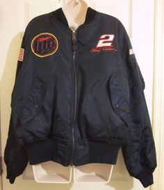 NWT Rusty Wallace Nascar Navy Jacket Coat Miller Lite Size Medium M Hase #HaseAuthentics