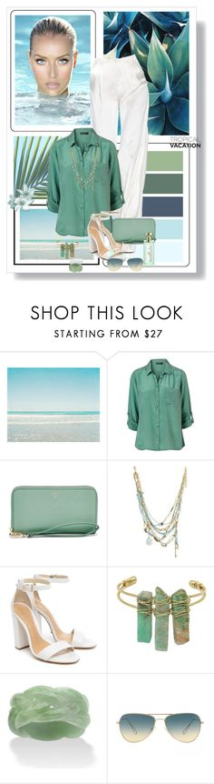 """""""Welcome to Paradise: Tropical Vacation"""" by dezaval ❤ liked on Polyvore featuring FOSSIL, Alexis Bittar, Schutz, Palm Beach Jewelry and Oliver Peoples"""