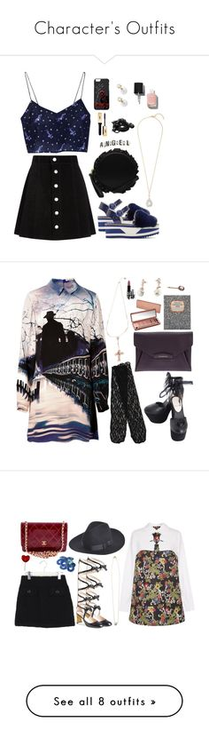 """""""Character's Outfits"""" by natjulieta ❤ liked on Polyvore featuring AG Adriano Goldschmied, Dolce&Gabbana, Urbanears, Chanel, Mary Katrantzou, Givenchy, Urban Decay, Thomaspaul, MAC Cosmetics and Gucci"""