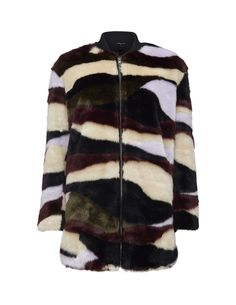 Women's slightly padded bomber jacket in printed faux fur. Features front fastening with gold-coated zip and slightly dropped shoulders. Two pockets in side seams. Ribbed neckline and fabric piping trim at front. Fully lined. Straight fit. Above-thigh length.