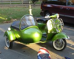 limegreen vintage vespa motorscooter with sidecar by Royal Enfield, via Flickr