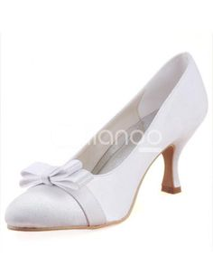 Grace White Satin Flower Decoration Round Toe Bridal Pump Shoes. Heel Height 8cm. See More Bridal Shoes at http://www.ourgreatshop.com/Bridal-Shoes-C919.aspx