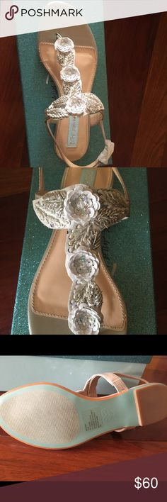 Blue by Betsey Johnson Camil Sandals Brand new- never been worn. Purchased to wear with wedding dress, but color doesn't match. Betsey Johnson Shoes Sandals