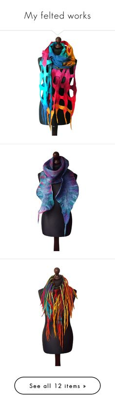 """""""My felted works"""" by marlena-rakoczy ❤ liked on Polyvore featuring accessories, scarves, navy scarves, colorful scarves, navy blue scarves, purple shawl, felt scarves, bohemian scarves, gray shawl and summer scarves"""