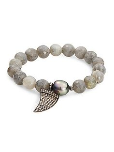 10MM Tahitian Pearl & Diamond Wing Stretch Bracelet - SaksOff5th