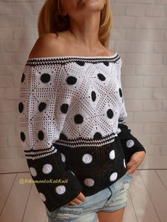 COTTON CROCHET SWEATER women / Black White Polka Dots Crochet Granny square Sweater off shoulder / Boho Crochet Blouse, Top with sleeves - Crochet Summer Sweater open cold shoulder Lace Top with sleeve Boho Crochet, Cotton Crochet, Crochet Cardigan, Hand Crochet, Crochet Summer, Crochet Granny, Crochet Pattern, Summer Sweaters, Sweaters For Women