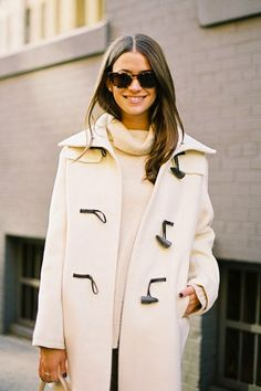 There's something very refreshing about this monochromatic look.  Tortoiseshell sunglasses // Toggle coat // Cozy sweater