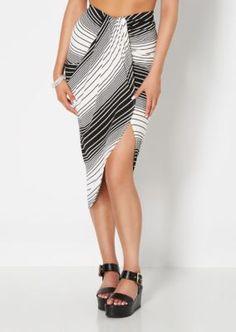 Black Striped & Draped Midi Skirt | Midi | rue21