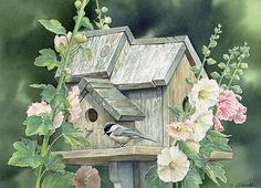Garden Home Chickadee  Original Painting by Susan Bourdet
