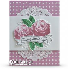 CARD: Picture Perfect Birthday Roses in Sweet Sugar Plum | Stampin Up Demonstrator - Tami White - ——— S U P P L I E S ———  • Picture Perfect Photopolymer Stamp Set #140520 • Whisper White 8-1/2X11 Card Stock #100730 • Playful Palette Designer Series Paper Stack	141657 • Sweet Sugarplum Classic Stampin' Pad	141395 • Garden Green Classic Stampin' Pad #126973 • Emerald Envy Classic Stampin' Pad	141396 • Cucumber Crush Classic Stampin' Pad #138324 • Big Shot Die-Cut Machine #113439 • Floral Affe...
