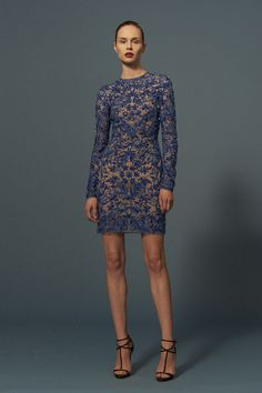 Naeem Khan Pre- Fall 2016: Glam blue/violet embellished long sleeve mini dress! Sparkle & shine!