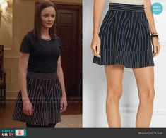 Rory's navy dotted skirt and tee with embellished neckline on Gilmore Girls: A Year in the Life.  Outfit Details: https://wornontv.net/62608/ #GilmoreGirls