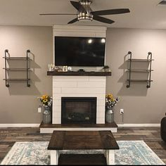 Fireplace surrounds Mens' Rings Hit The Style Spot Article Body: Copyright 2006 Tatstar When does a Above Fireplace Ideas, Build A Fireplace, Fake Fireplace, Shiplap Fireplace, White Fireplace, Farmhouse Fireplace, Fireplace Remodel, Fireplace Surrounds, Fireplace Design