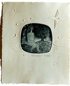 280 - La terre est jeune ( 2ème état ) - Simone & Jean Gravure - Techniques: aquatinte sur cuivre, burin et gouge sur plastique Papier: 250 gr Dimensions: 21,5 x 26 cm Edition: 99 Année: 1997