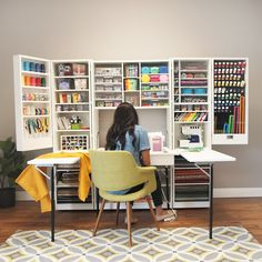 Craft room design, sewing spaces, sewing rooms, craft room storage, room or Craft Room Storage, Craft Organization, Storage Bins, Office Storage, Diy Storage, Organization Ideas, Craft Desk, Craft Art, Bedroom Organization