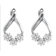 .54ct Cubic Zirconia Sterling Silver Flower Design Earring Jackets - $59