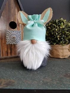 This Easter bunny Gnome stands 8 in high. He wears charcoal grey felt, white beard and mint green hat with burlap ears. He is perfect to add to your spring decor and enjoy at Easter. Props not included Easter Crafts, Fun Crafts, Diy And Crafts, Spring Crafts, Holiday Crafts, Scandinavian Gnomes, Easter Bunny, Easter Eggs, Christmas Gnome