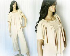 Vintage 70s Jumpsuit S Shawl Top Flared Pants Beige - PopFizzVintage, $60.00