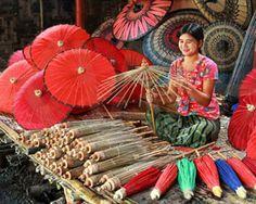 Pathein Htee (Myanmar traditional umbrellas)