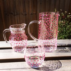 A personal favourite from my Etsy shop https://www.etsy.com/uk/listing/527708736/hand-painted-tall-pink-spotty-pitcherjug