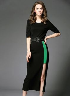 Polyester Solid Half Sleeve Mid-Calf Casual Dresses