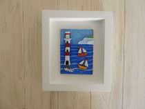 Lighthouse and sailing boats in vibrant colours - individually made fused glass tile set in handcrafted frame