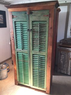 Rustic Barn Wood and Antique Shutter Cabinet di LSVintageHome