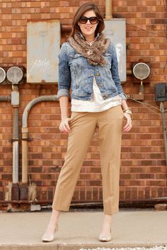 Like: Jean Jacket with folded arms, Nude Capris, White shirt and bracelet.  Dislike: Scarf (looks too busy for outfit), Neud shoes (a bright or earth tone color like a peach, dark read, forest green)
