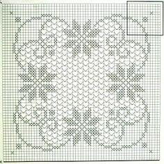 """Começando o Outono, apetece-me trabalhos maiores. Como esta toalha da revista """"Labores de oro - manteles 4"""", que combina formas geométricas...."""