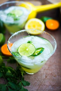 Smokey Spicy Mezcal Margarita with Jalapeno and Cilantro: a refreshing twist   www.feastingathome.com