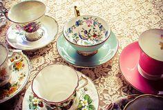 unmatching, but super pretty tea set