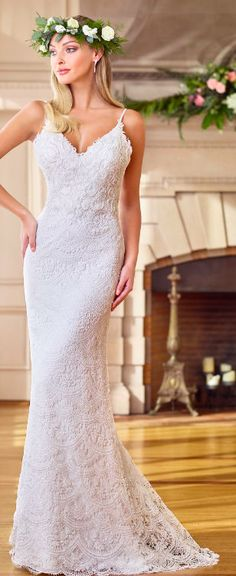 Boulevard Bride is a bridal Boutique in Lake St. Louis, Missouri that offers a wide selection of styles for your entire wedding party. Boho Wedding Gown, Sheath Wedding Gown, Wedding Dresses, Bridal Gowns, Bridal Boutique, Neckline, Bride, Spaghetti Straps, Lace