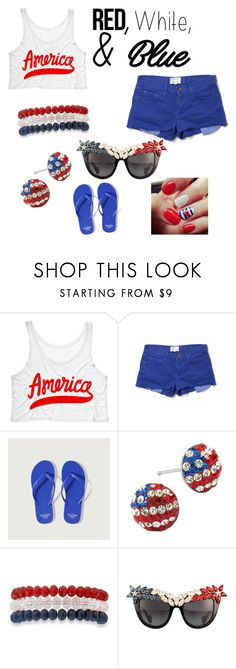 """""""Untitled #44"""" by laylay1224 ❤ liked on Polyvore featuring Current/Elliott, Abercrombie & Fitch, Kim Rogers, Anna-Karin Karlsson, redwhiteandblue and july4th"""