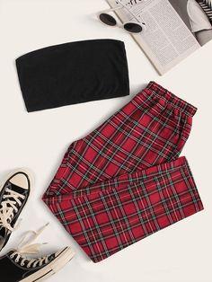 Shop Rib-knit Crop Tube Top & Tartan Pants Set at ROMWE, discover more fashion styles online. Girls Fashion Clothes, Teen Fashion Outfits, Retro Outfits, Outfits For Teens, Girl Outfits, Grunge Outfits, Preteen Fashion, Style Clothes, Cute Lazy Outfits